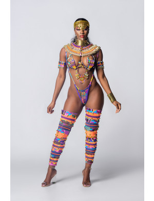 Nubian Kingdom (Minka - Aminatu wire bra set) Platinum Costume