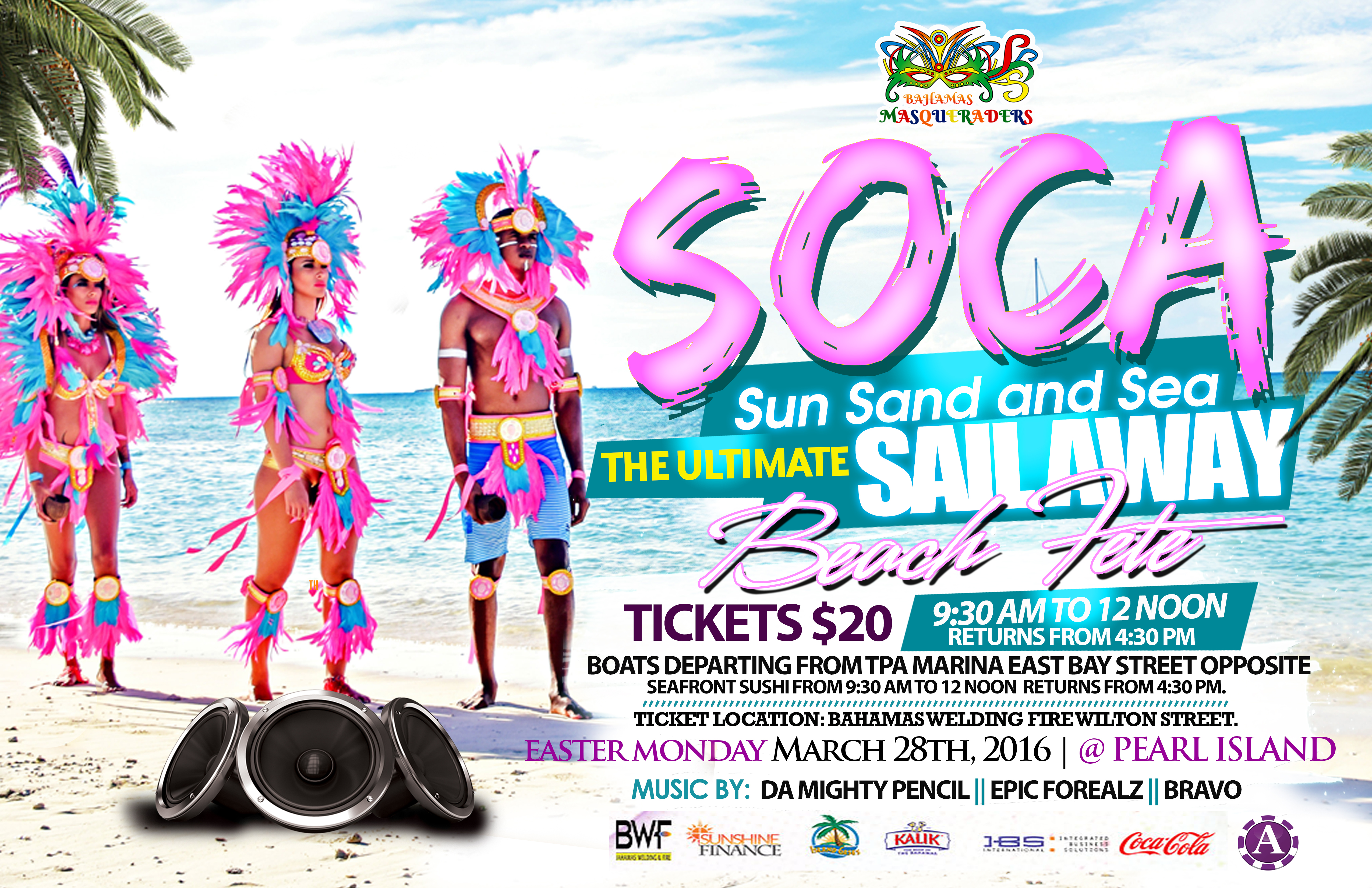 Bahamas Masqueraders Easter Monday Sail Away and beach fete March 28, 2016 Bahamas Junkanoo Carnival